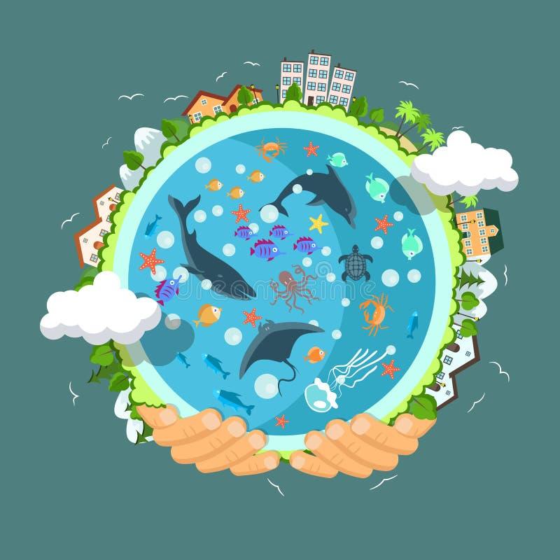 Concepto del Día de la Tierra Manos humanas que celebran la flotación libre illustration