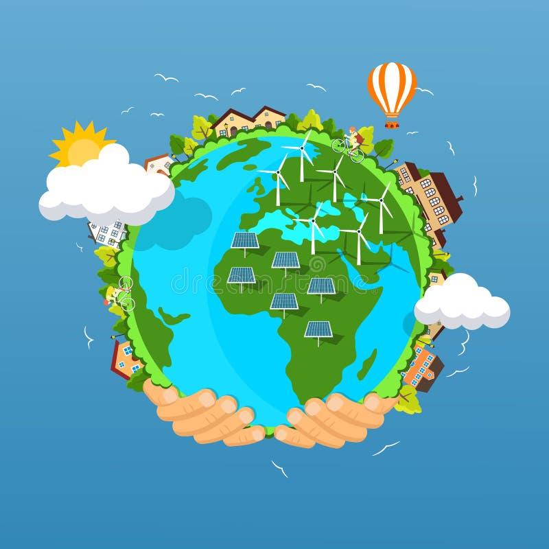 Concepto del Día de la Tierra Manos humanas que celebran la flotación stock de ilustración