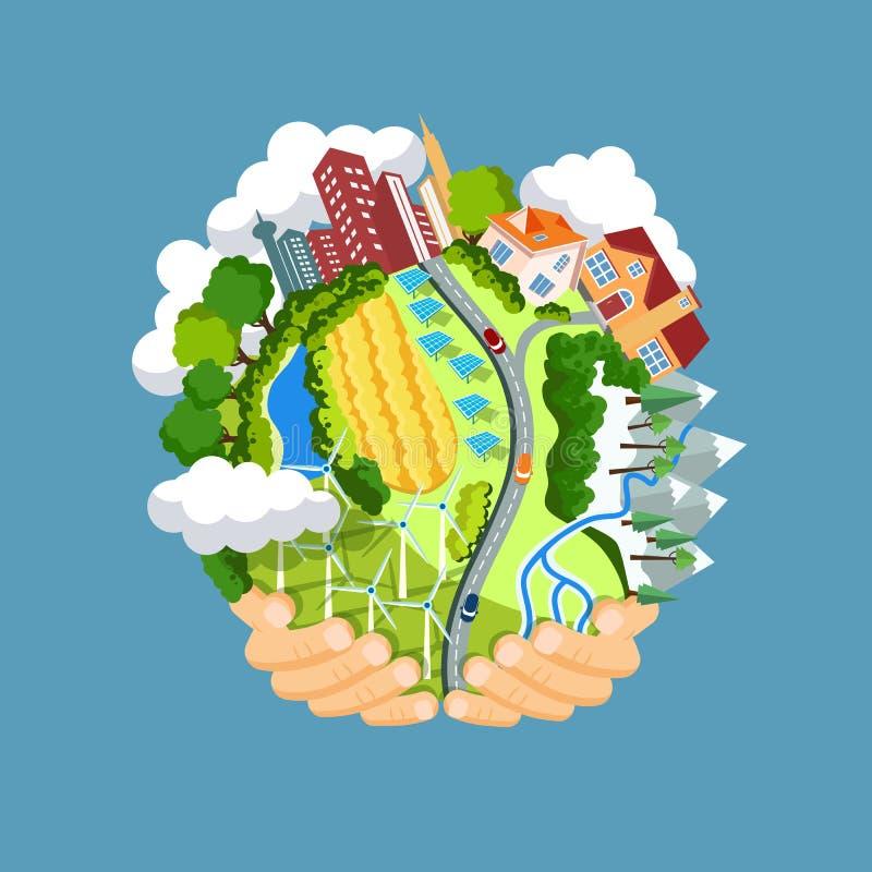 Concepto del Día de la Tierra Manos humanas que celebran la flotación ilustración del vector