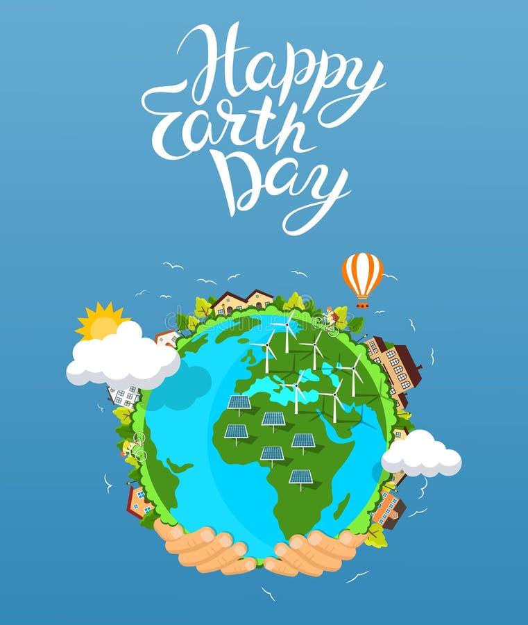 Concepto del Día de la Tierra Manos humanas que sostienen el globo flotante en espacio libre illustration