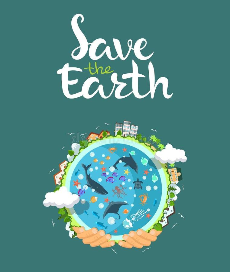 Concepto del Día de la Tierra Manos humanas que sostienen el globo flotante en espacio Excepto nuestro planeta Ejemplo plano del  stock de ilustración