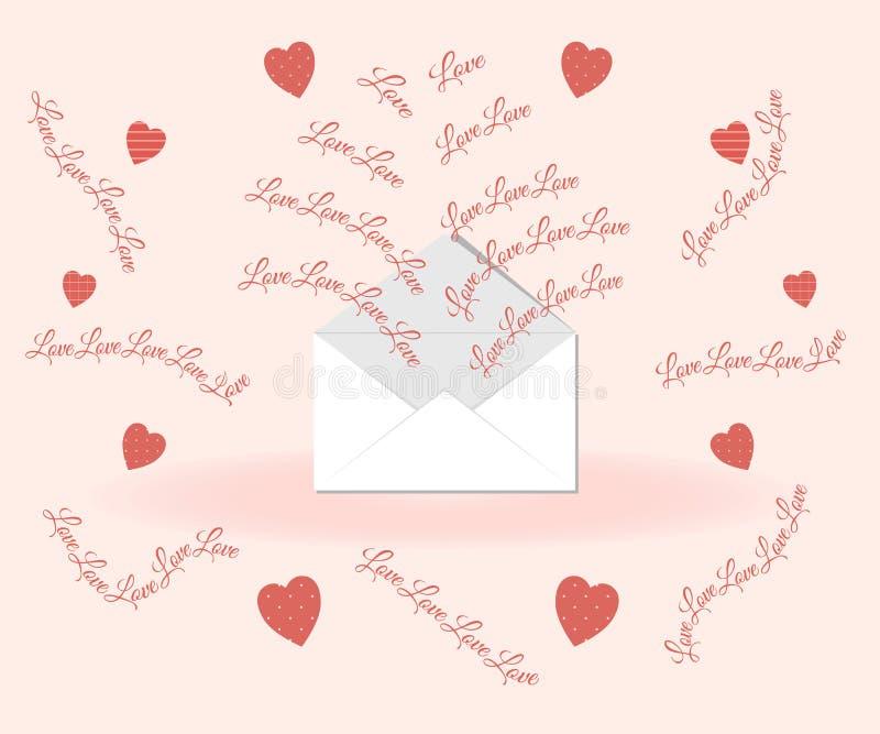 Concepto del día de tarjeta del día de San Valentín: las letras de amor vuelan del sobre en un fondo rosado rodeado por los coraz stock de ilustración