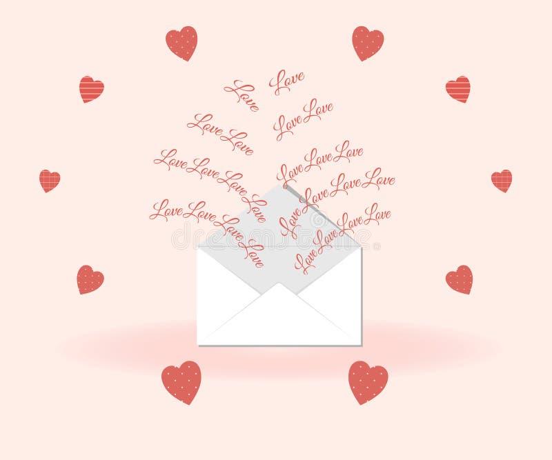 Concepto del día de tarjeta del día de San Valentín: las letras de amor vuelan del sobre en un fondo rosado rodeado por los coraz libre illustration