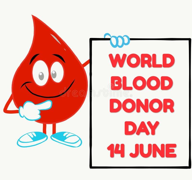 Concepto del día del donante de sangre del mundo con una gota de sangre ilustración del vector