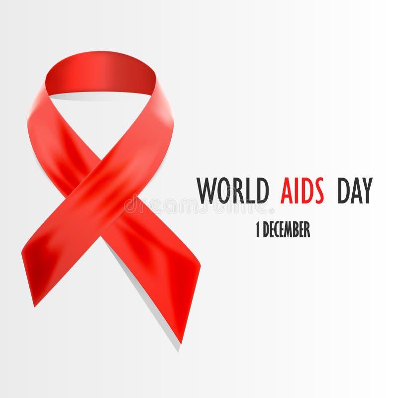 Concepto del Día Mundial del Sida Cinta roja del día del VIH ilustración del vector