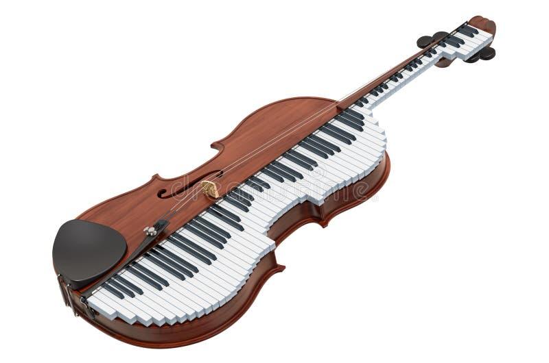 Concepto del dúo de la música clásica Violín y piano, representación 3D stock de ilustración