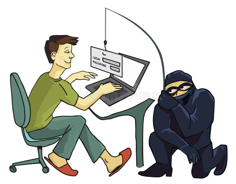 Concepto del delito informático Phishing de Internet un concepto del inicio de sesión y de la contraseña stock de ilustración