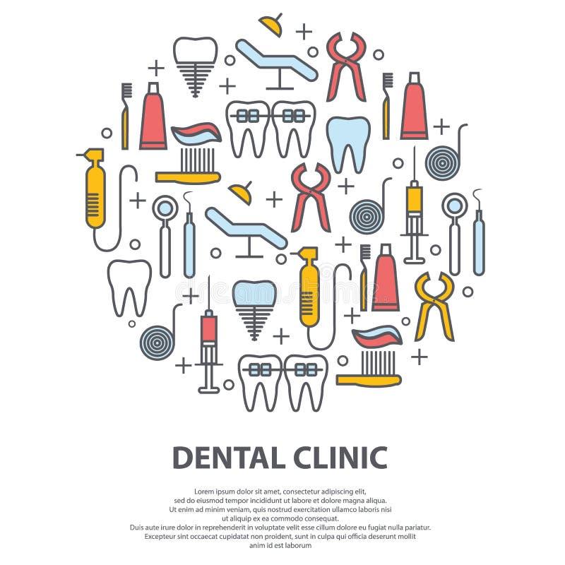 Concepto del dentista en c?rculo con la l?nea fina iconos de diente, implante, seda dental, corona, crema dental, equipamiento m? stock de ilustración