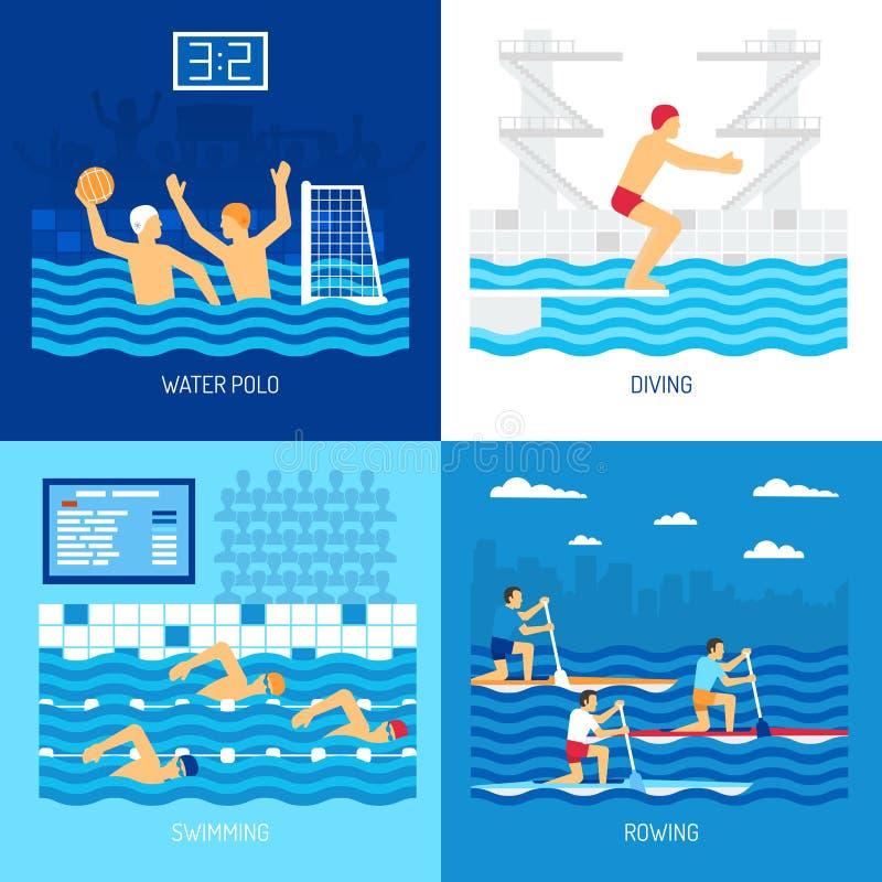 Concepto del deporte acuático stock de ilustración