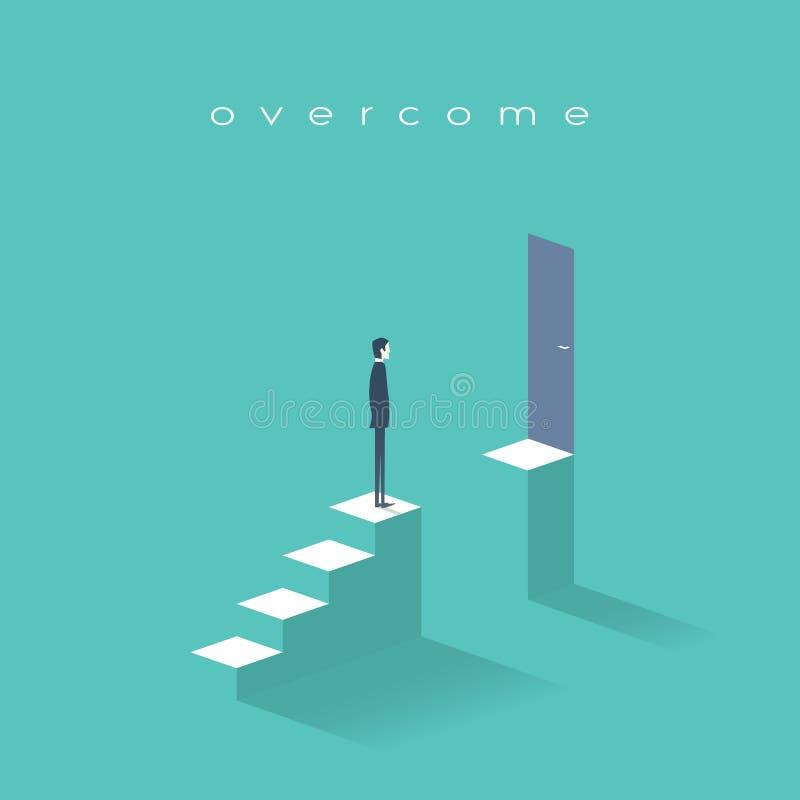 Concepto del desafío del negocio con el hombre que se coloca en las escaleras Meta o blanco detrás del obstáculo stock de ilustración