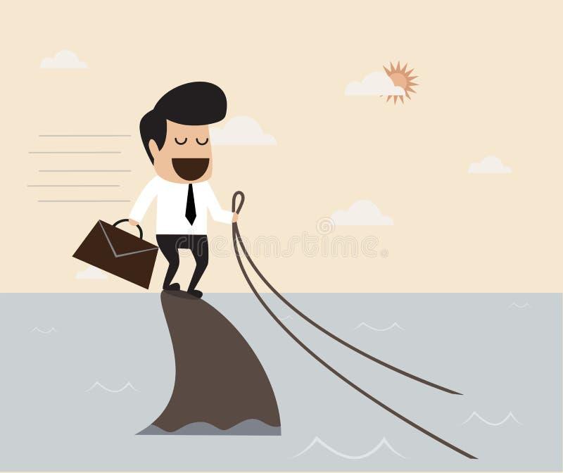 Concepto del desafío: Hombre de negocios que monta un tiburón stock de ilustración