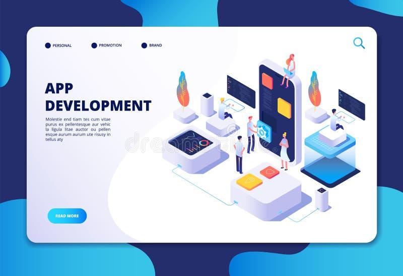 Concepto del desarrollo del App Trabajo del diseñador del desarrollador sobre la aplicación móvil del smartphone Vector isométric libre illustration