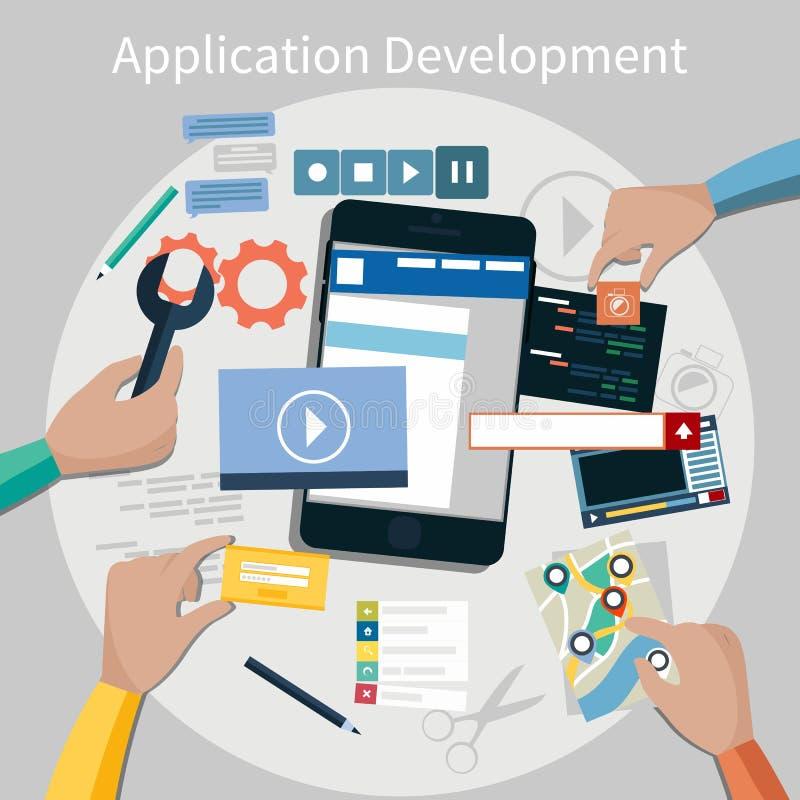 Concepto del desarrollo de aplicación móvil ilustración del vector