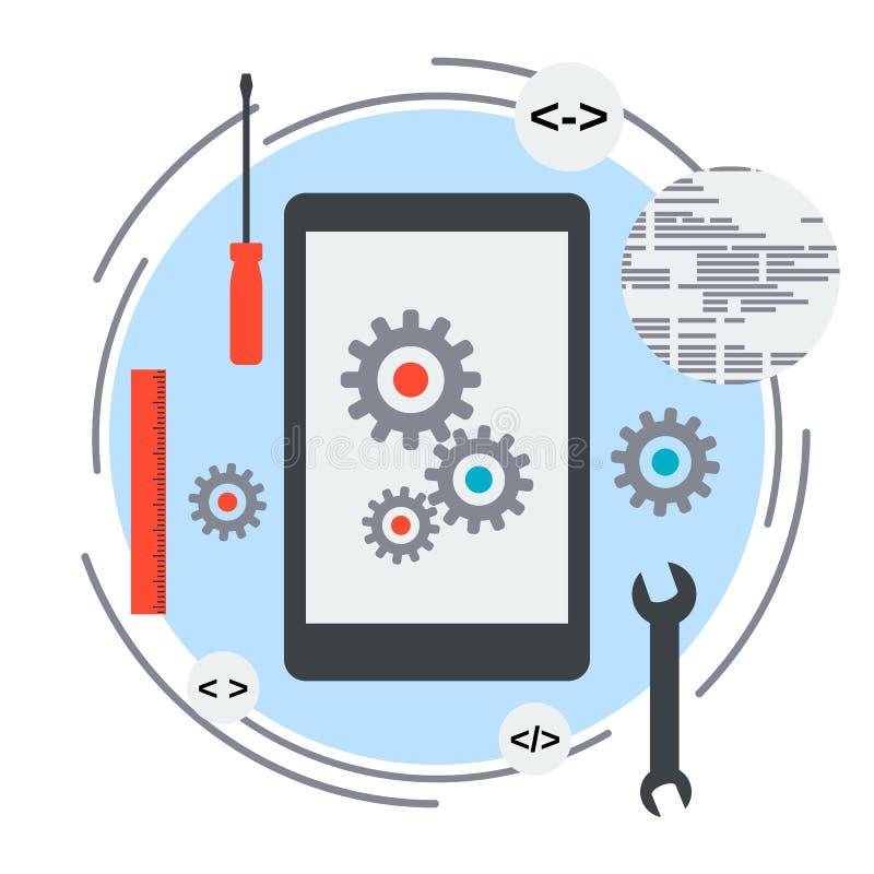 Concepto del desarrollo de aplicación móvil stock de ilustración
