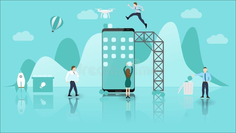 Concepto del desarrollo de aplicación móvil con el teléfono grande y la pequeña gente Trabajo en equipo y colaboración experiment ilustración del vector