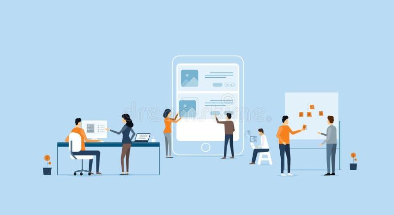 Concepto del desarrollo de aplicación móvil y del proceso de diseño libre illustration