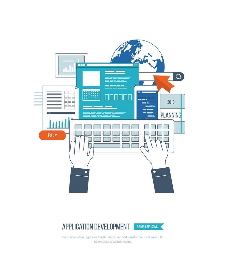 Concepto del desarrollo de aplicaciones para el comercio electrónico, sitios web, aplicaciones móviles libre illustration