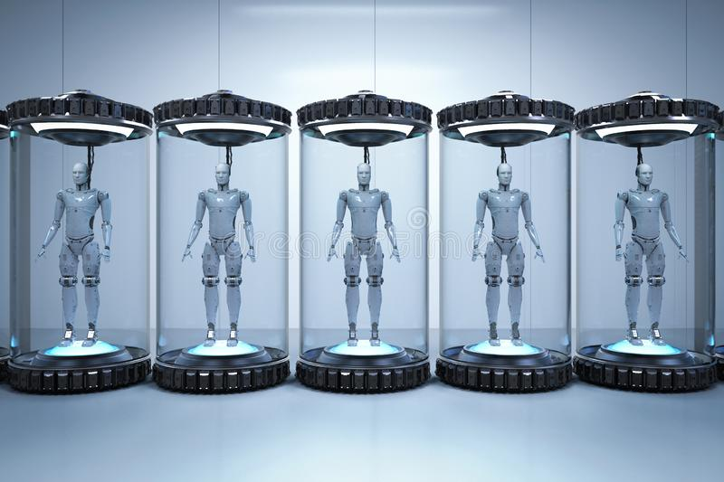 Concepto del desarrollo de la inteligencia artificial stock de ilustración