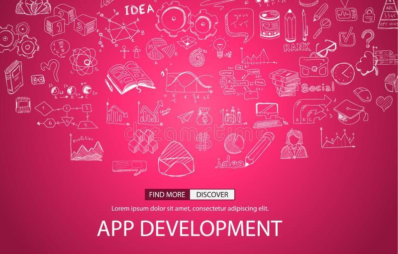 Concepto del desarrollo del App con estilo del diseño del garabato libre illustration
