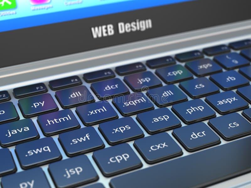 Concepto del desarrollo del diseño web, programación o termnes de SEO en t fotografía de archivo
