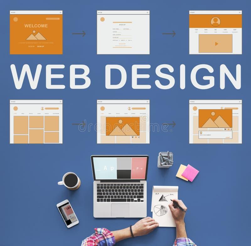 Concepto del desarrollo del sitio web del trabajo del diseño web fotografía de archivo libre de regalías