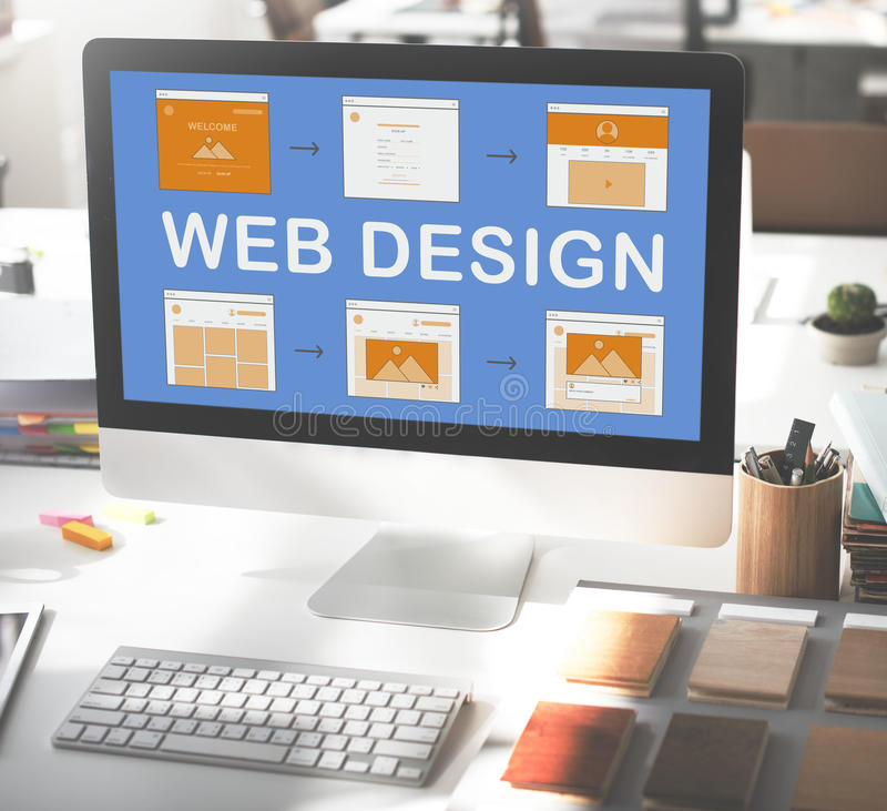 Concepto del desarrollo del sitio web del trabajo del diseño web foto de archivo