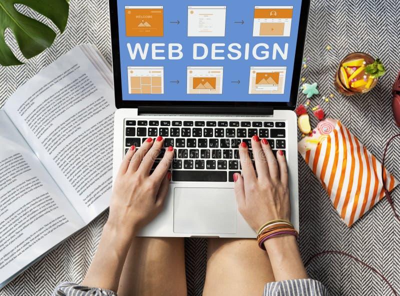 Concepto del desarrollo del sitio web del trabajo del diseño web imágenes de archivo libres de regalías