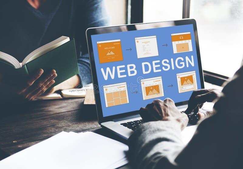 Concepto del desarrollo del sitio web del trabajo del diseño web fotos de archivo
