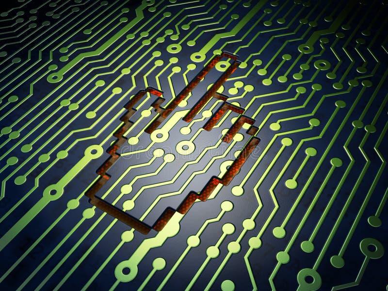 Concepto del desarrollo web: Cursor del ratón en el circuito ilustración del vector