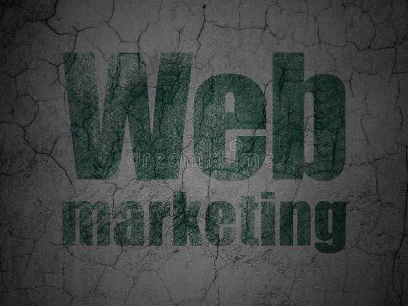 Concepto del desarrollo web: Márketing del web en fondo de la pared del grunge stock de ilustración