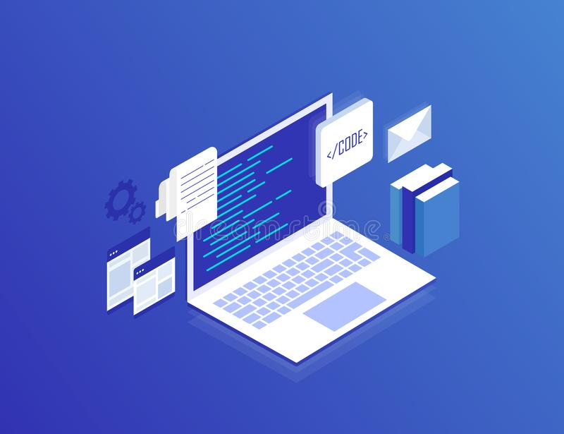 Concepto del desarrollo web, programando y cifrando Ejemplo isométrico moderno del vector ilustración del vector