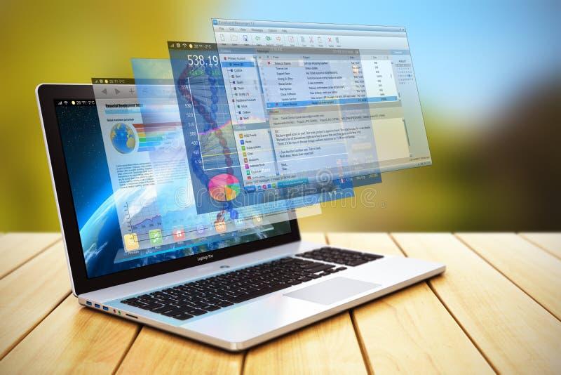 Concepto del desarrollo y de Internet de programas ilustración del vector