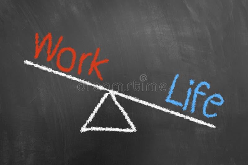 Concepto del desequilibrio del trabajo de vida con el dibujo de tiza en la pizarra imagen de archivo