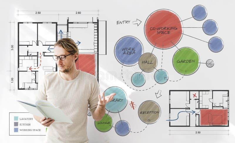 Concepto del dibujo de bosquejo del plan de piso de la oficina imagen de archivo