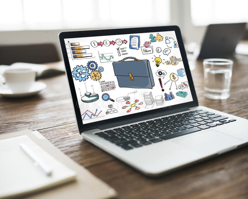 Concepto del dibujo de la contabilidad empresarial del icono de la cartera ilustración del vector