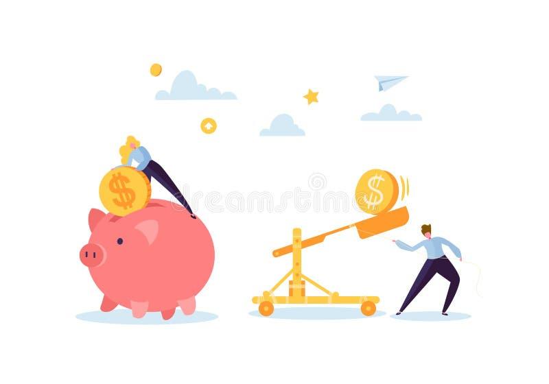 Concepto del dinero del ahorro Caracteres del negocio que recogen monedas de oro en la hucha rosada Riqueza, presupuesto y gananc libre illustration