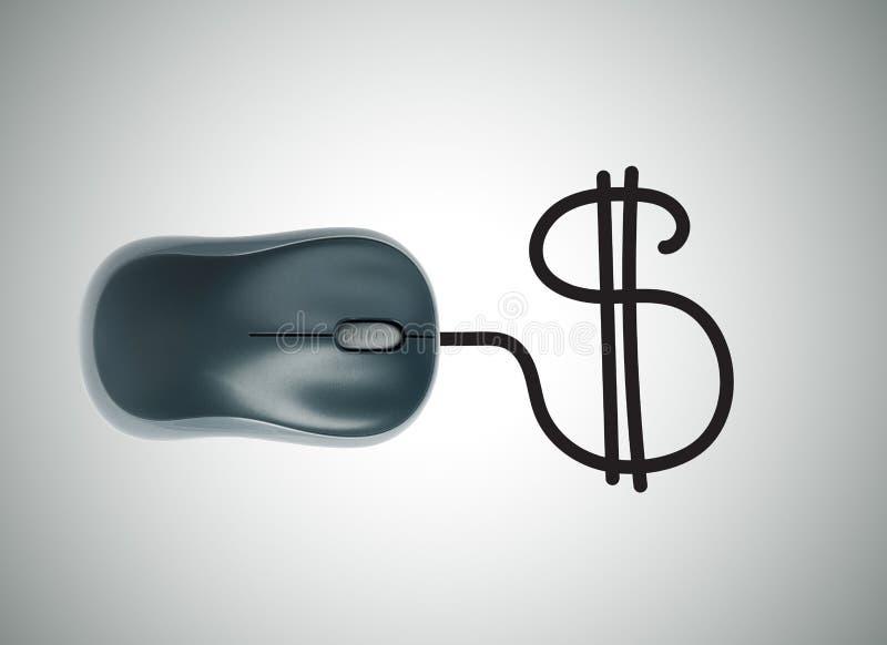 Concepto del dinero con el ratón del ordenador y la muestra de dólar foto de archivo libre de regalías