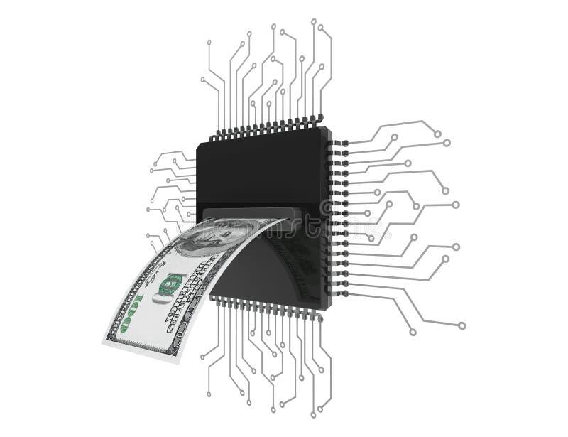 Concepto del dinero de Digitaces Dólares de Bill sobre los microchipes con el circuito stock de ilustración