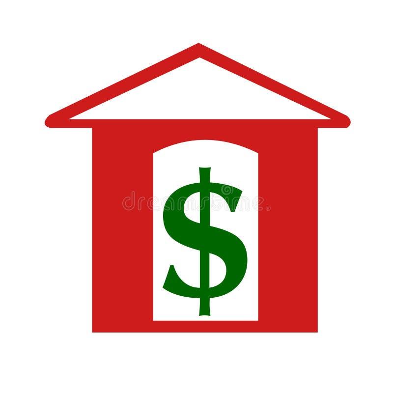 Concepto del dinero de la casa del dólar Dólar y vector del logotipo de la casa libre illustration
