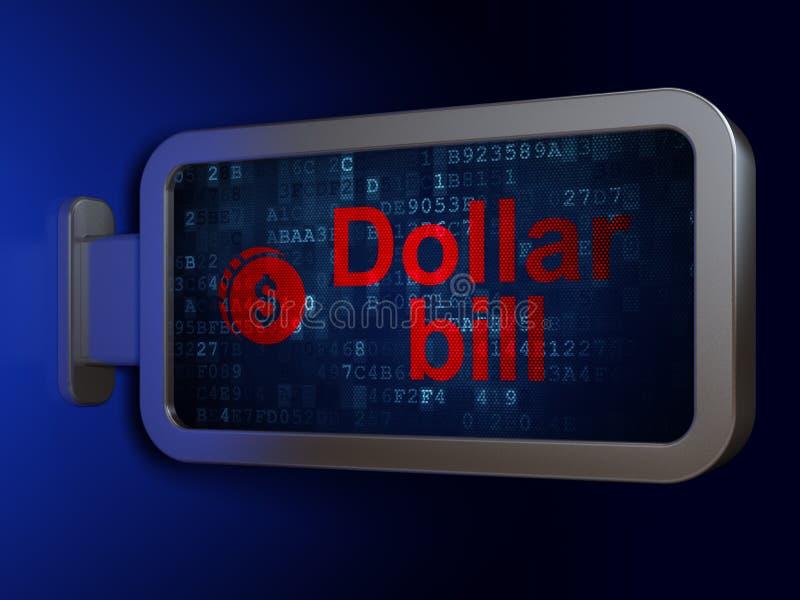 Concepto del dinero: Moneda del billete de dólar y del dólar en fondo de la cartelera stock de ilustración