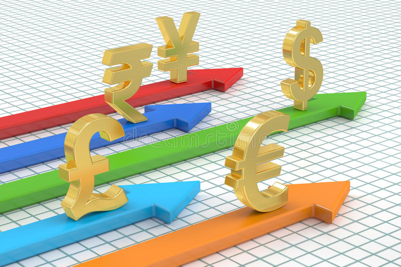 Concepto del dinero, monedas globales representación 3d libre illustration