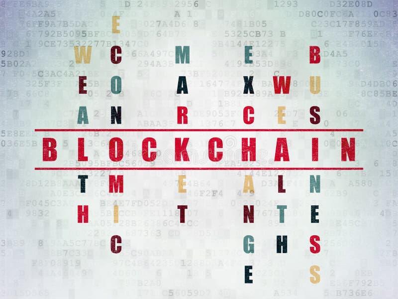Concepto del dinero: palabra Blockchain en crucigrama foto de archivo