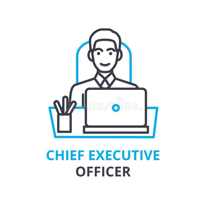 Concepto del director general, icono del esquema, muestra linear stock de ilustración