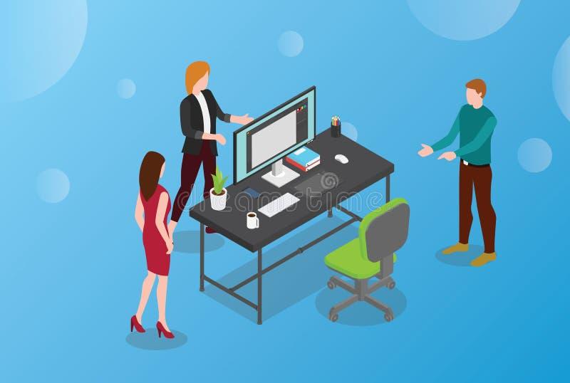 Concepto del diseñador del alquiler o del alquiler o gráfico de diseño con el escritorio y la silla vacíos con el diseño isométri libre illustration