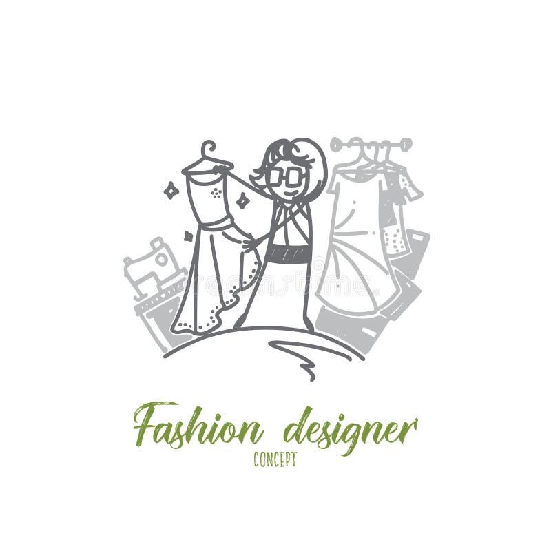 Concepto del diseñador de moda Vector aislado dibujado mano libre illustration