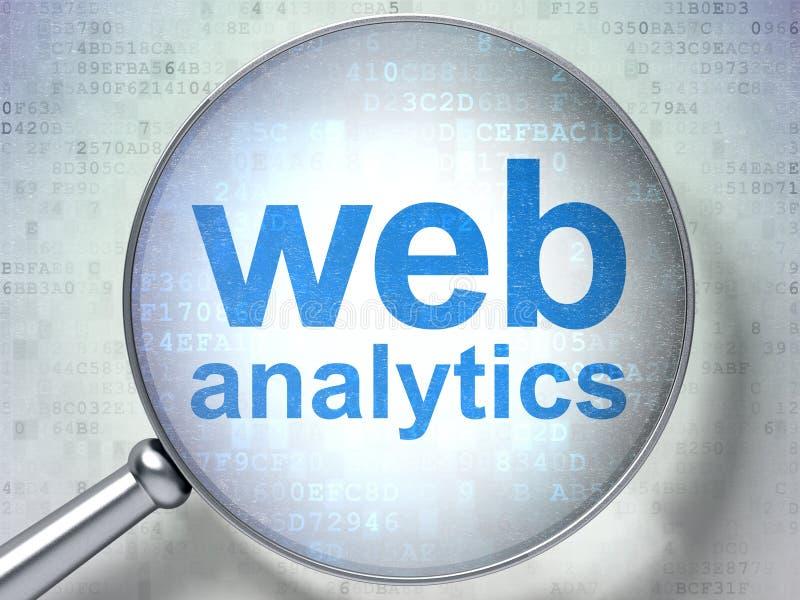 Concepto del diseño web: Analytics del web con el vidrio óptico ilustración del vector