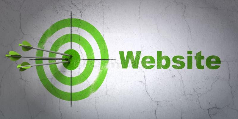 Concepto del diseño web: blanco y sitio web en la pared ilustración del vector