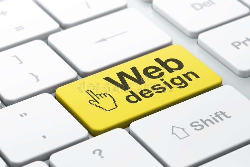 Concepto del diseño web: Cursor y diseño web del ratón en keyb del ordenador libre illustration