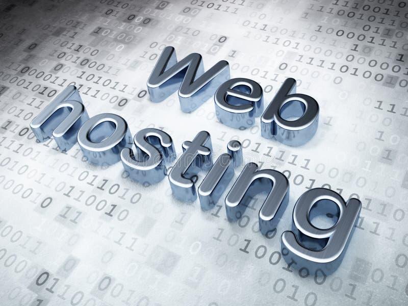 Concepto del diseño web de SEO: Web hosting de plata encendido stock de ilustración