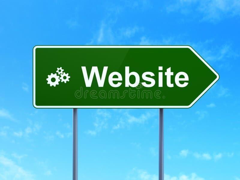 Concepto del diseño web: Sitio web y engranajes en señal de tráfico libre illustration